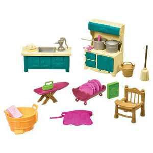 Li'l Woodzeez Miniature Furniture Playset 21pc - Kitchenette & Housekeeping Set