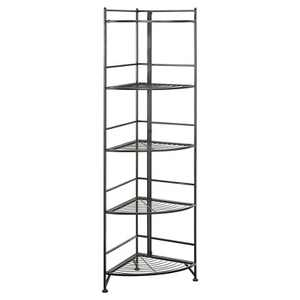 "58"" 5 Tier Folding Metal Corner Shelf Black - Breighton Home"