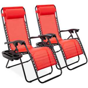 Best Choice Products Set of 2 Adjustable Zero Gravity Lounge Chair Recliners for Patio w/ Cup Holders - Crimson Red