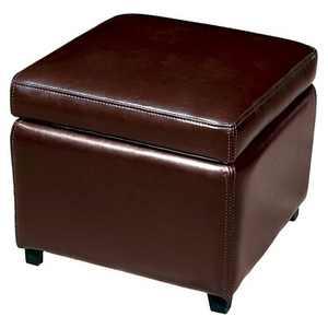Full Leather Small Storage Cube Ottoman Dark Brown - Baxton Studio