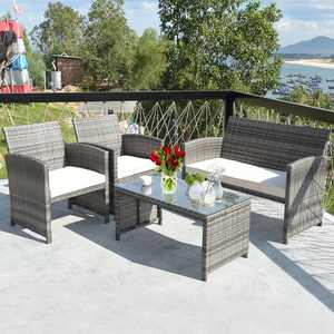 Costway 4-Pieces Patio Rattan Furniture Set Conversation Glass Table Top Cushioned Sofa