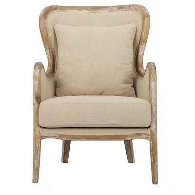 Crenshaw Fabric Wing Chair Beige - Christopher Knight Home