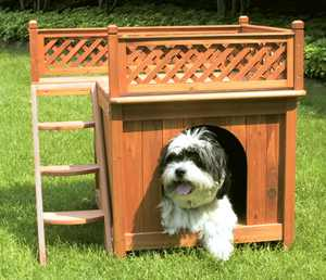 """Merry Products Wooden Dog House, Cedar Stain, Small, 21.73""""L x 28.54""""W x 25.67""""H"""