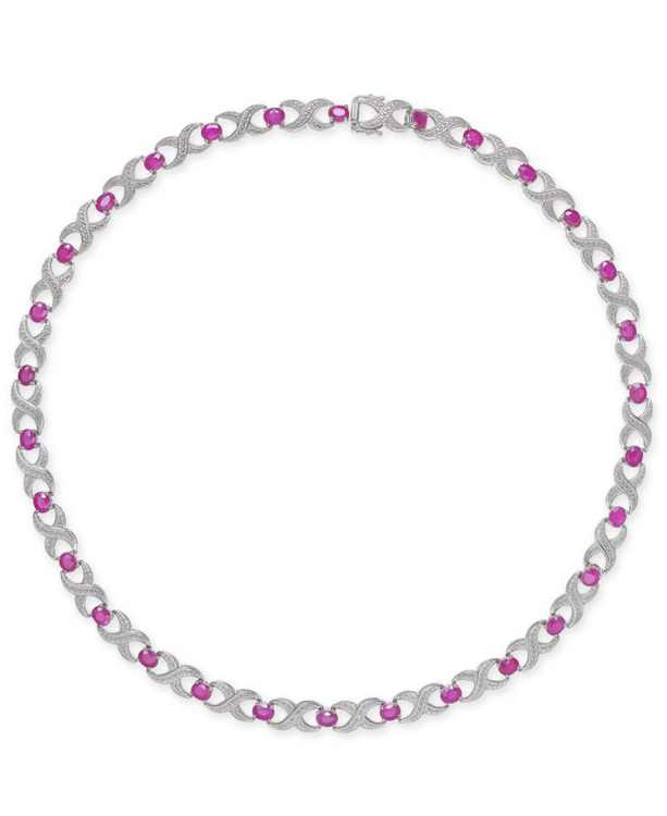"""Certified Ruby (16-1/2 ct. t.w.) & Diamond Accent Collar 18"""" Necklace in Sterling Silver"""