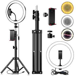 """10"""" Selfie LED Ring Light with Tripod Stand & Phone Holder for Live Stream/Makeup, Mini Led Camera Ringlight for YouTube Videos/Photography"""