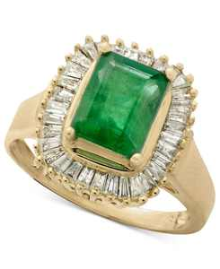 Brasilica by EFFY Emerald (1-3/8 ct. t.w.) and Diamond (1/2 ct. t.w.) Ring in 14k Yellow Gold or 14k White Gold (Also in Sapphire)