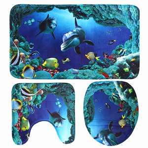 3 Piece Home Bath Non-Slip Mat Set Bathroom Pedestal Rug Deep Sea Dolphin Soft Toilet Cover Mat Blue