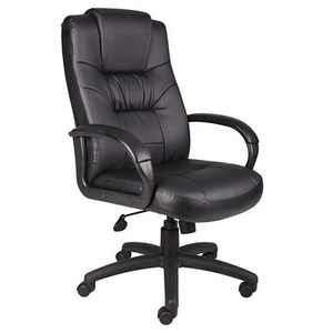 Executive High Back Leatherplus Chair Black - Boss Office Products