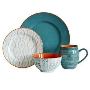 Baum Bros 16pc Stoneware Tangiers Dinnerware Set Turquoise