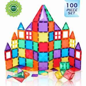 Magnetic Building Tiles - 100 Piece Set Construction Playboard Toys