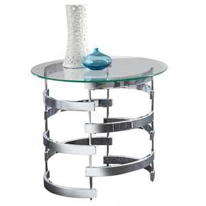 Tayside End Table Glass and Chrome - Steve Silver
