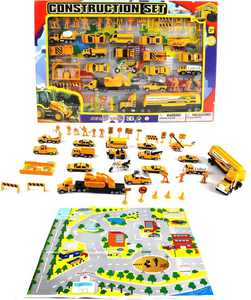 Complete Construction Crew 43 Piece Mini Toy Diecast Vehicle Play Set, Comes with Street Play Mat, Variety of Vehicles and Figures