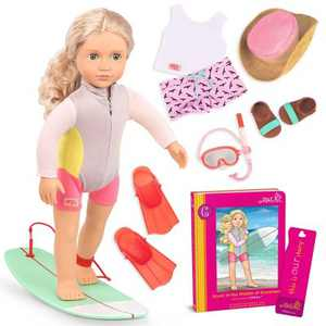 "Our Generation 18"" Posable Surfer Doll with Storybook & Accessories - Coral"