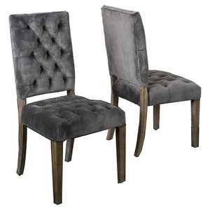 Set of 2 Saltillo New Velvet Dining Chair Charcoal - Christopher Knight Home
