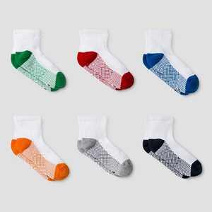 Boys' 6pk Athletic Ankle Socks - Cat & Jack White