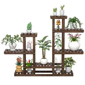 "6-Tier 7-Shelf 38"" High Wooden Flower and Plant Display Stand"