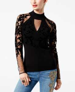 INC Flocked-Velvet Illusion Sweater, Created for Macy's