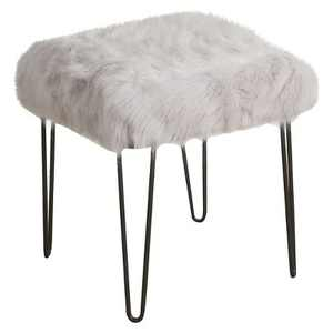 Faux Fur Gray Stool - HomePop