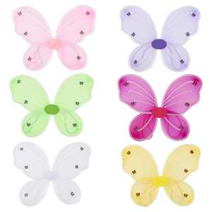 6 Pack Butterfly Fairy Wings for Kids Girls Halloween Party Cosplay Costume, Fairytale Princess Pretend Play Dress up, 6 Colors