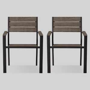 Mantega 2pk Faux Wood Patio Dining Chair - Project 62™