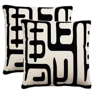 "2pk 24""x24"" Maize Sqaure Throw Pillow Black - Safavieh"