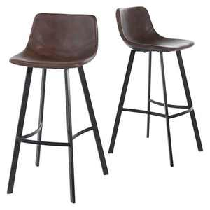 "Set of 2 30"" Dax Faux Leather Barstool Brown - Christopher Knight Home"