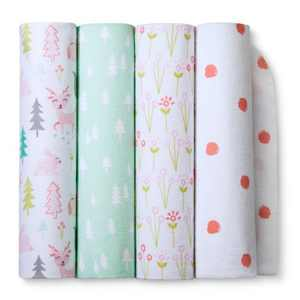 Flannel Baby Blankets Forest Frolic 4pk - Cloud Island™ Pink
