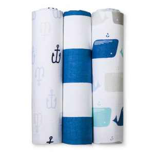 Muslin Swaddle Blankets By The Sea 3pk - Cloud Island™  Blue