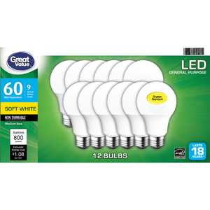 Great Value LED Light Bulb, 9 Watts (60W Equivalent) A19 General Purpose E26 Medium Base, Non-dimmable, Soft White, 12-Pack