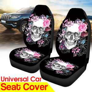 2Pcs 3D Front Car Seat Cover Skull Flowers Printing Pattern Cushion Protector Fit for Vehicle for Sedan Universal for Truck for SUV for VAN