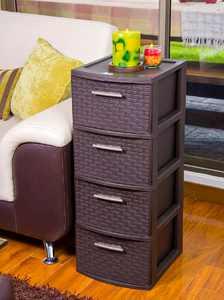 MQ Infinity Multi-Purpose PP Resin 4-Drawer Storage Cabinet, Espresso