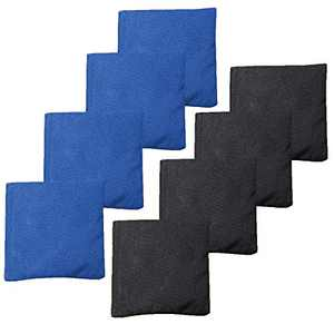 Play Platoon Premium Weather Resistant Duckcloth Cornhole Bags - Set of 8 Bean Bags for Corn Hole Game - Regulation Size & Weight - Blue & Black