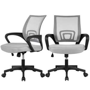Adjustable Mesh Swivel Office Chair with Armrest, Set of 2, Gray