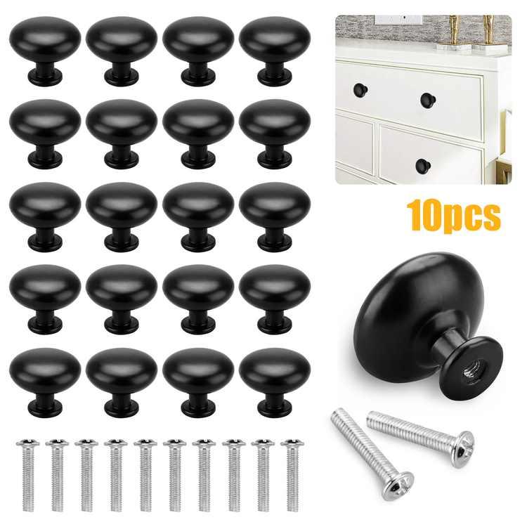 "TSV 10pcs Black Cabinet Hardware Round Mushroom Knob, Handle Pull Bathroom Knobs with Screws, Round Drawer Handles for Door, Shoe Cabinet, Bookcase, Dresser, Cupboards, 1.14"" Diameter"