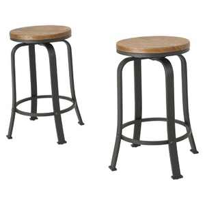 Set of 2 Skyla Rotating Counter Height Barstool Natural - Christopher Knight Home