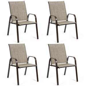 Gymax Outdoor Dining Chair - Steel - Set of 4 - Has Arms - Grey