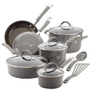 Rachael Ray 12pc Sea Salt Cucina Cookware Set Gray