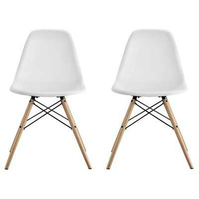 Set of 2 Bellini Mid Century Modern Molded Chair with Wood Leg - White - Room & Joy