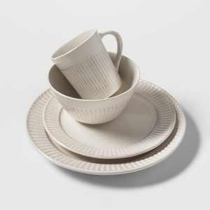 16pc Stoneware Carved Lines Dinnerware Set White - Threshold™