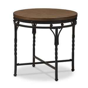 Austin Vintage Industrial Round End Table - Antique Bronze - Baxton Studio