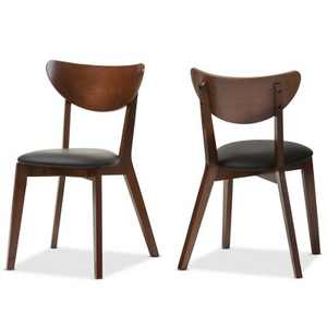 """Set of 2 Sumner Mid - Century Faux Leather Dining Chairs - Black, """"Walnut"""" Brown - Baxton Studio"""