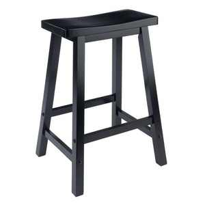 "24"" Satori Saddle Seat Counter Height Barstool Black - Winsome"