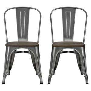 Set of 2 Fiora Metal Dining Chair with Wood Seat Gun Metal - Room & Joy