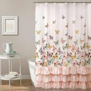 Flutter Butterfly Shower Curtain Pink - Lush Décor
