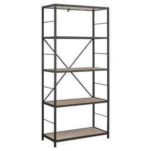 "63"" Rustic Industrial Farmhouse 4 Shelf Tall Bookshelf - Saracina Home"