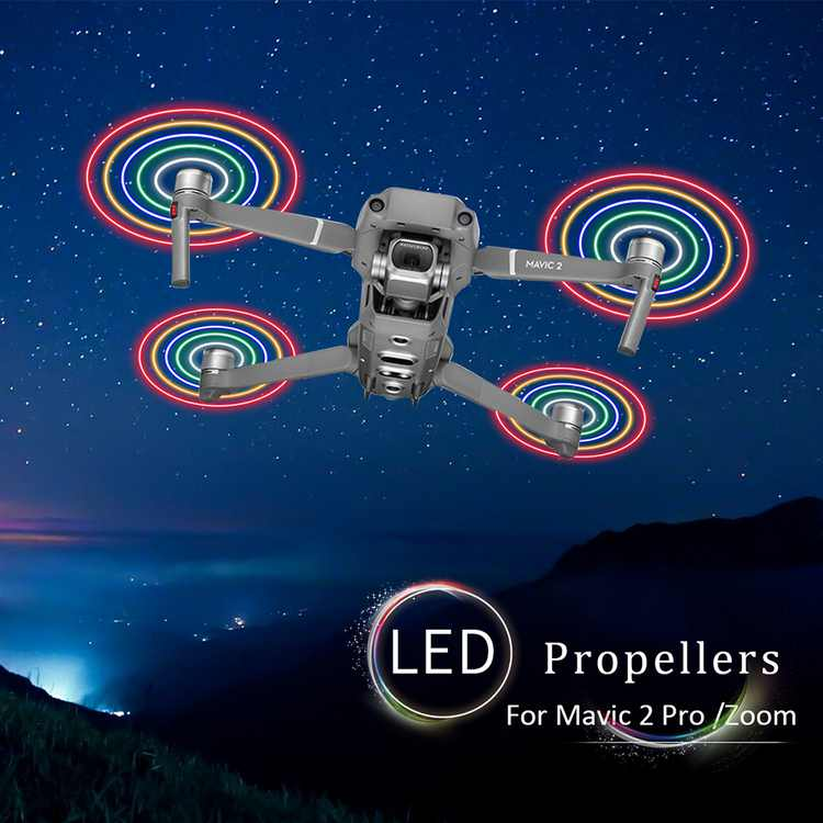 1 Pair LED Flash Low-Noise Quick Release Propeller Rechargeable CW/CCW Props for Mavic 2 Pro/Zoom FPV Drone