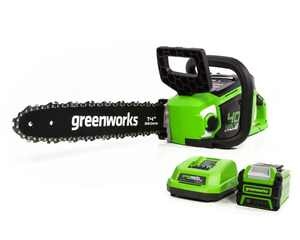 Greenworks 40V 14 in. Cordless Brushless Chainsaw with 2.5 Ah Battery and Charger, 2012802