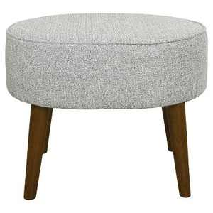 Mid Century Oval Ottoman with Wood Legs - Ash Gray - Homepop