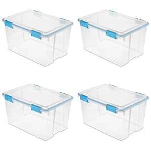 Sterilite 13.5 Gallon Latched Gasket Plastic Storage Box, Clear and Blue, 4 Count