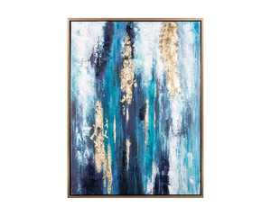 Signature Design by Ashley Dinorah Abstract Teal Blue Framed Wall Art